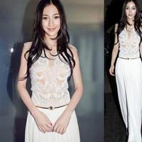 代购女装韩国韩版明星同款无袖雪纺连衣裙长裙白色夏季修身显瘦潮
