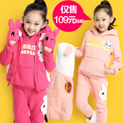 Kids fall and winter clothes for girls 2014 new three-piece suit sweater coat large baby boy child thick cotton
