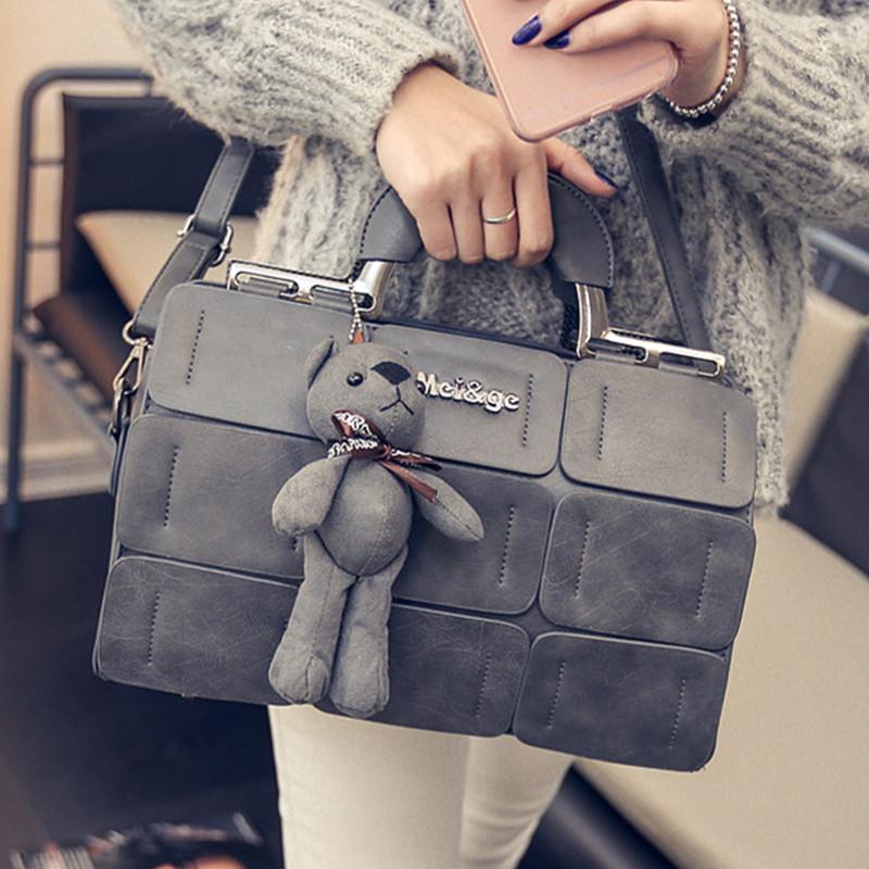 2016新款秋冬女包欧美时尚手提包女士包包小熊波士顿包单肩斜挎包