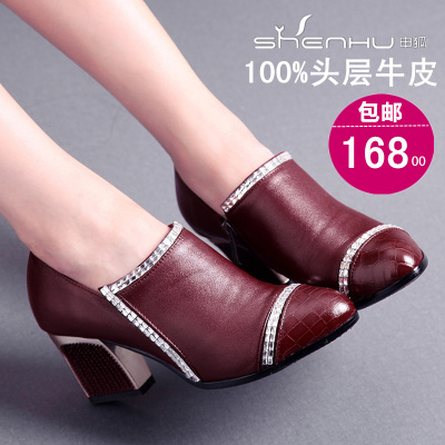 Shen Fox 2015 spring new singles shoes with thick with leather shoes Girls shoes women shoes deep mouth