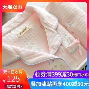 月子服春秋三层里外层纯棉产后孕妇睡衣秋冬季产妇夹棉哺乳喂奶衣