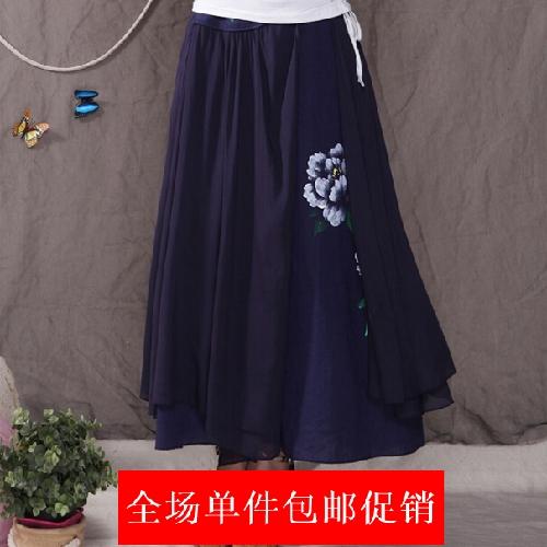 中国风女装长裙 民族风原创拼接手绘亚麻半身裙 雪纺5米大摆裙 夏
