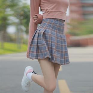 韩版秋装女装小清新格子半身裙高腰百褶裙显瘦夏季学生A字裙短裙