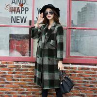 潮姿韵2015秋冬新款羊绒呢大衣格子撞色中长款大码羊毛呢外套女款