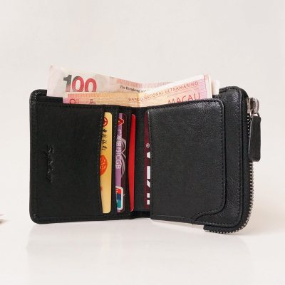Japan and South Korea a short section of men and two sheep fold wallet purse zipper section vertical grid tanned really pickup bag coin bag tide