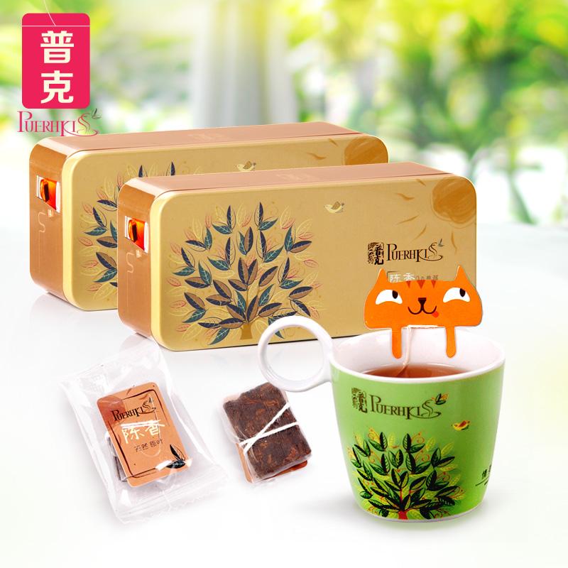 普克普洱茶 陈香普洱铁盒组合装50gX2盒 云南普洱茶熟茶