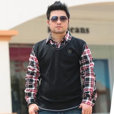 Large yard fertilizer to increase men's shirt men warm plaid shirt business leave two long-sleeved thick sweater