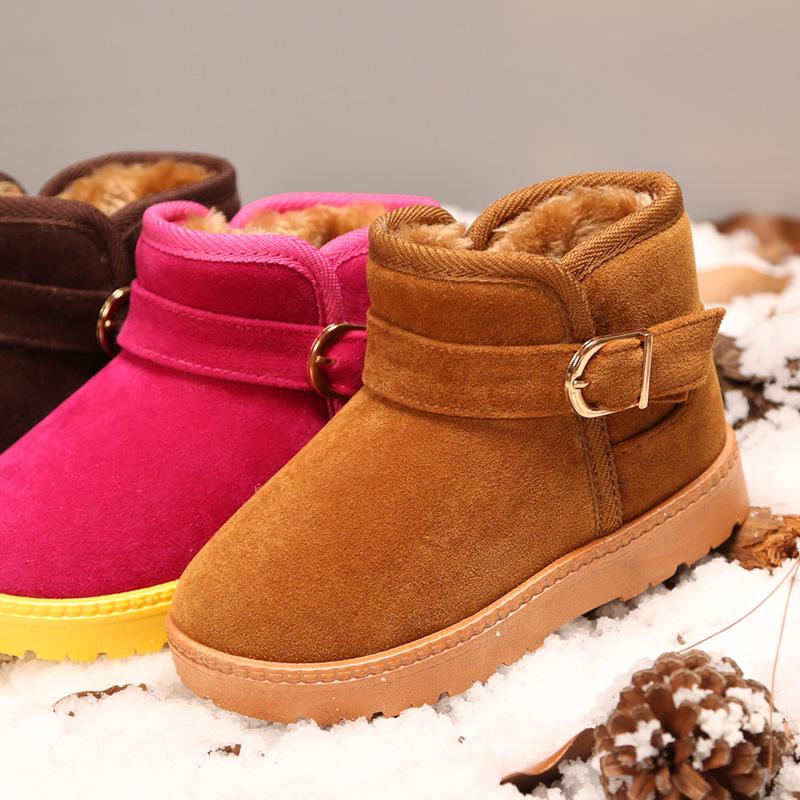冬季儿童雪地靴男童短靴女童靴子2016新款宝宝中筒棉靴保暖童鞋冬