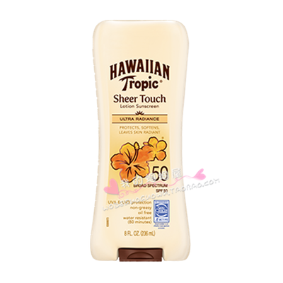 美国正品Hawaiian Tropic夏威夷SPF50透薄亮丽防晒霜乳液防晒乳