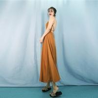 莎娜心机吊带裙复古垂坠感大露背心机连衣裙修身显瘦无袖大A摆裙