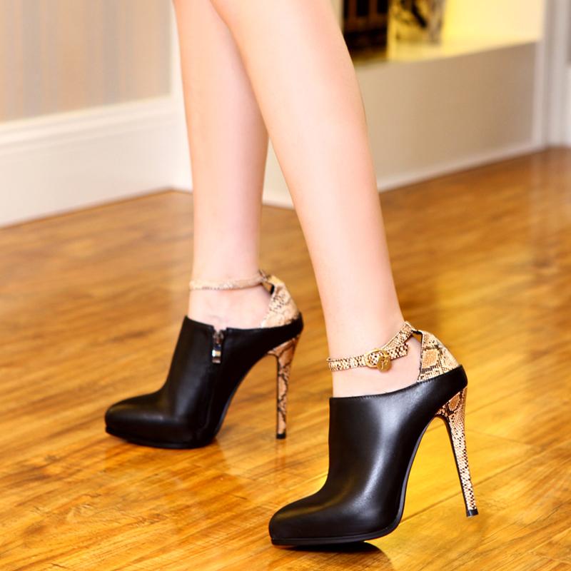 约修亚2014秋季新款单鞋真皮超高跟鞋细跟单鞋欧美防水台夜店女鞋