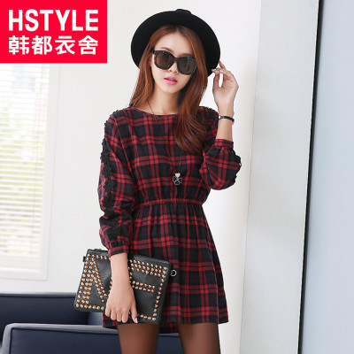 Korean homes have clothes Korean version of the 2015 spring new women's plaid hollow bat sleeve A-line dress DU3346 cherry