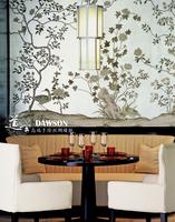 手绘真丝壁纸 手绘丝绸墙纸  手绘壁画 墙画 天然蚕丝 工笔花鸟