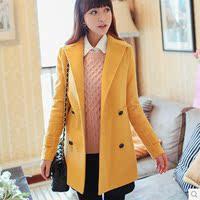 2016秋冬装新款韩版学院风毛呢外套 女修身显瘦呢子外套