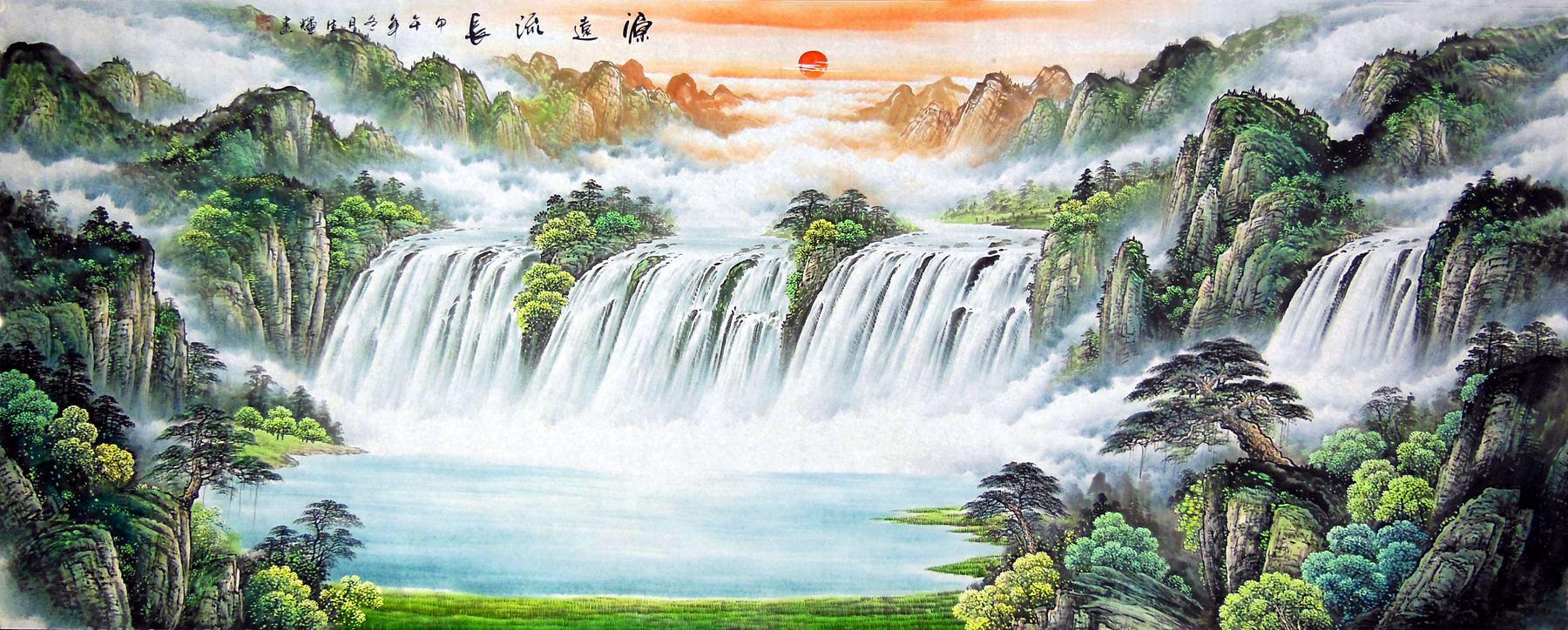 手绘国画字画山水画 源远流长 范生辉小八尺横幅山水聚宝盆 x8c-4图片