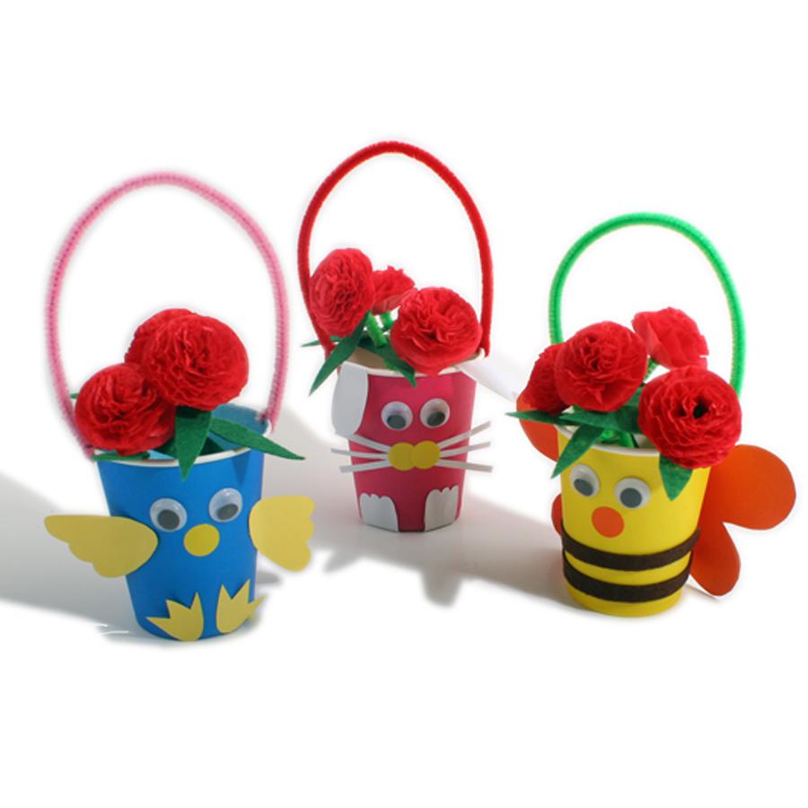 艺趣儿童手工制作 幼儿diy手工材料包母亲节创意礼物 小礼品花篮图片