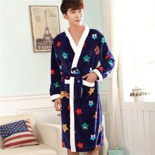 Upset the man in the fall and winter of a robe Flannel pajamas bathrobe for youth large winter robe in junior high school students