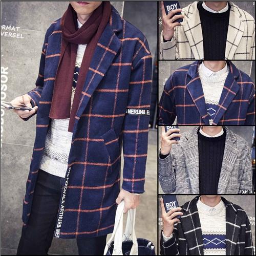 秋冬装中长款毛呢大衣男士加肥加大码格子风衣外套韩版青年潮男装