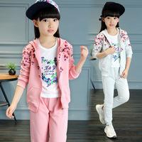 2016秋装新品女童韩版童装红叶印花女童运动套装中小童中大两件套