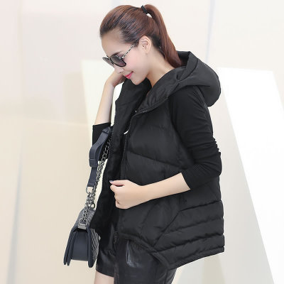 2014 new autumn and winter thick cotton vest female long section of European and American fashion ladies winter coat hooded vest female