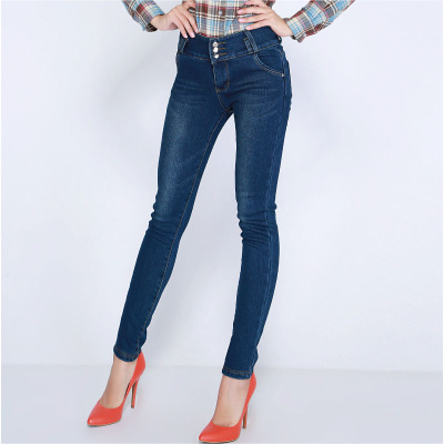 Moao 2014 Women winter new high waist jeans plus thick velvet Korean Slim three-breasted women's pants