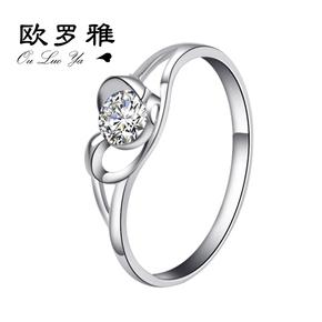 925银戒指女单戒银镀金钻戒八箭八心尾戒婚戒食指戒首饰宝石戒指