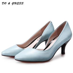 欧美女鞋原创2015秋季新款浅口单鞋羊皮性感细跟高跟尖头鞋小码鞋