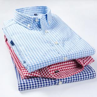 春夏季纯棉红色小格子衬衫男长袖商务经典格纹衬衣全棉短袖寸