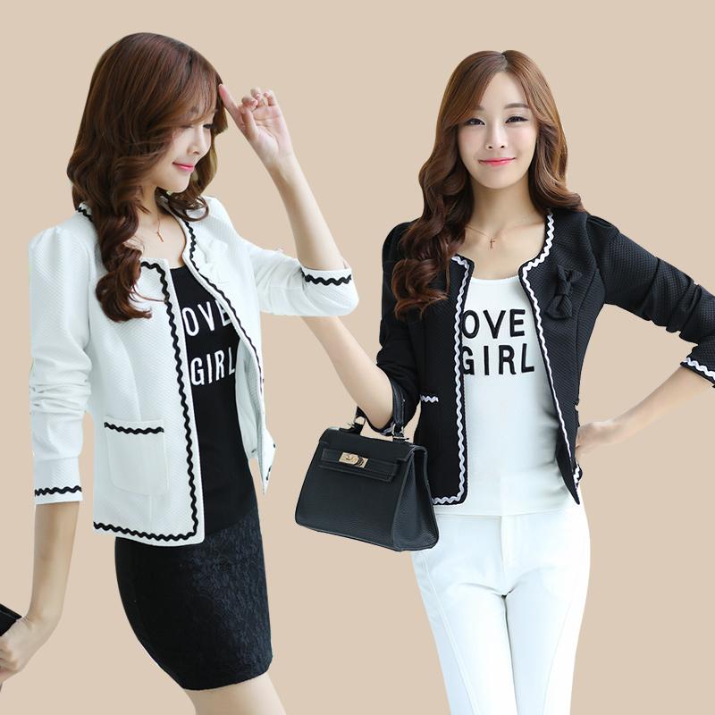 2015秋装新款时尚西服 韩版长袖短款修身小外套女 大码女装短外套