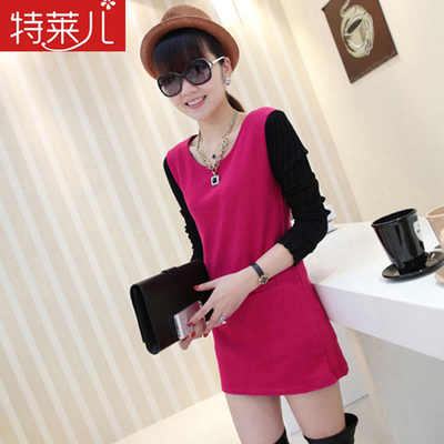 2014 new winter woolen dress Korean wild big yards ladies woolen long-sleeved dress women bottoming butterbur