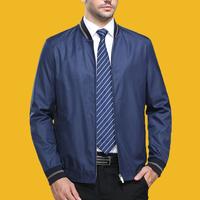 男士中老年夹克衫外套中年男夹克春秋薄款翻领上衣男装父亲爸爸装
