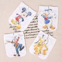 新品米奇迪士尼卡通袜女士直板袜棉质原创日系文艺可爱爆款