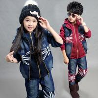 男童冬装加绒三件套儿童新款牛仔拼接加厚套装中大童米字旗卫衣潮