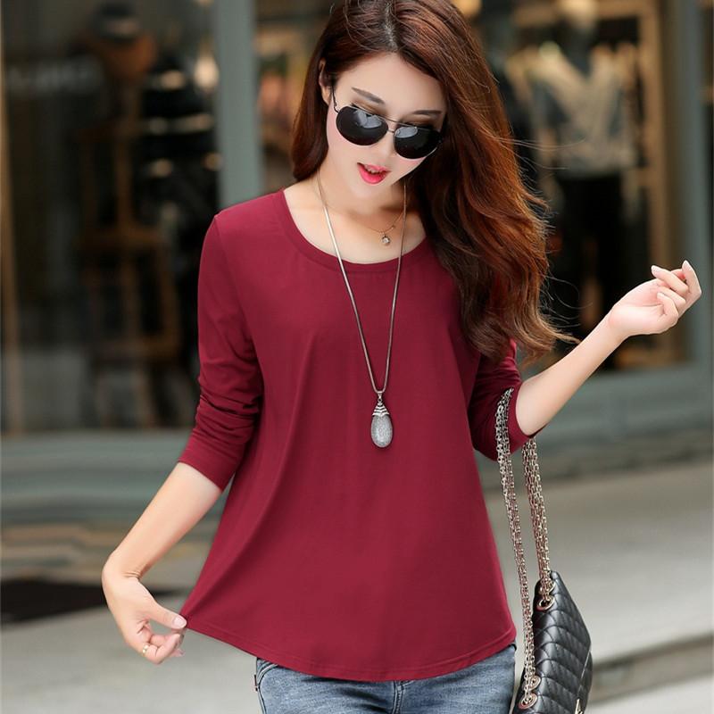 秋季韩版纯色长袖t恤女修身显瘦大码女装纯棉宽松打底衫圆领上衣