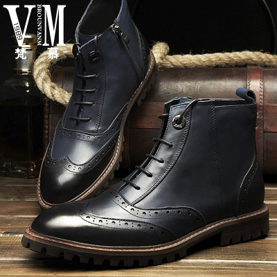 Vatican Mu really Pima Ding boots tooling boots male British men's leather boots boots Bullock carved high shoes