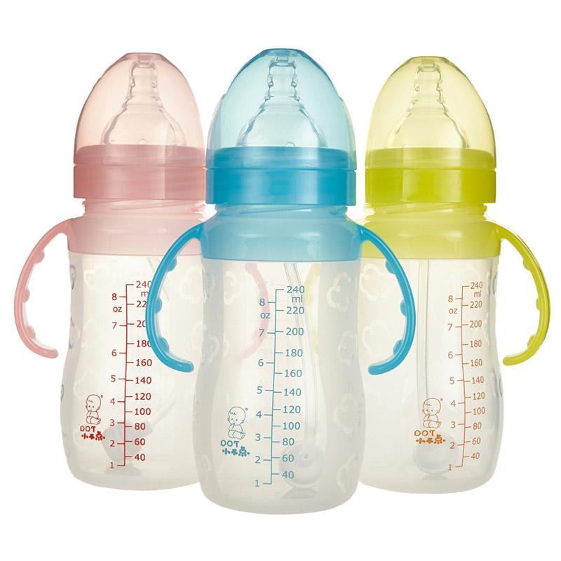 小不点婴儿宽口径带吸管手柄防胀气全硅胶奶瓶 新生儿母婴用品
