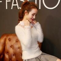 欧洲站2015秋冬新款长袖T恤女韩版针织拼蕾丝性感修身显瘦打底衫
