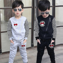 Children's clothing male ZhongTong autumn leisure sport suit Tide big boy students in the spring and autumn cotton suits leopard zipper unlined upper garment
