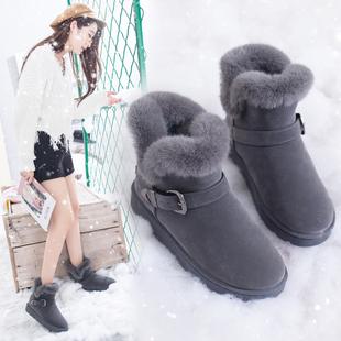 雪地靴女2018女士百搭搭扣棉鞋百搭学生加绒加厚防滑短靴