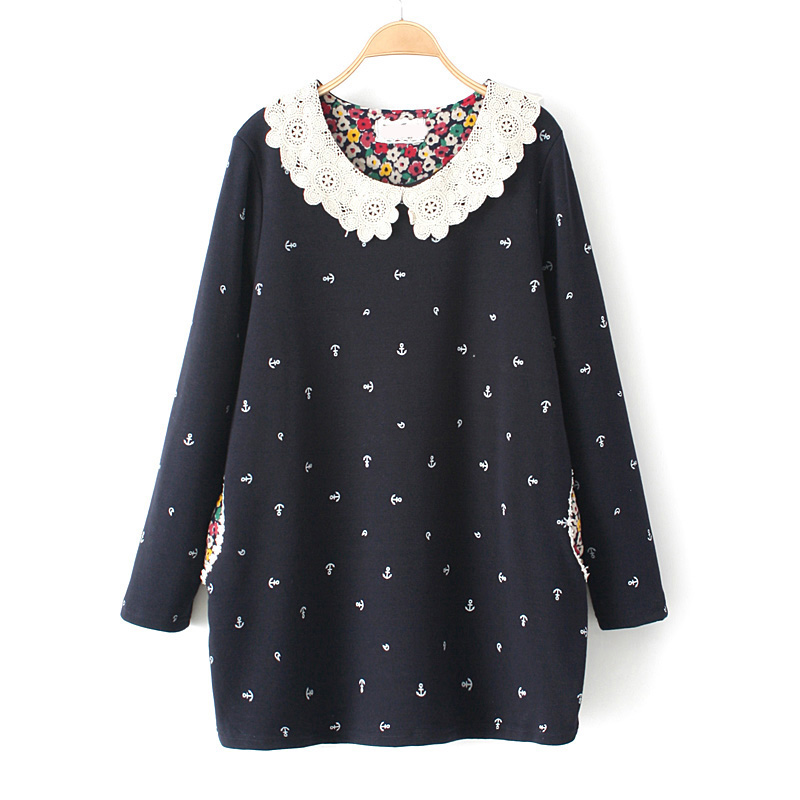 Story style autumn and winter 2014 new large size women fat MM arrows sweet lace collar plus velvet sweater and long sections