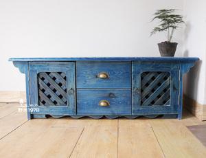 地中海家具全实木斜格门客厅落地双门抽屉电视柜边柜装饰创意家具