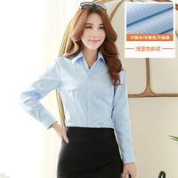 2016新款长袖衬衫 女 OL修身显瘦职业白色打底衫韩版百搭休闲上衣