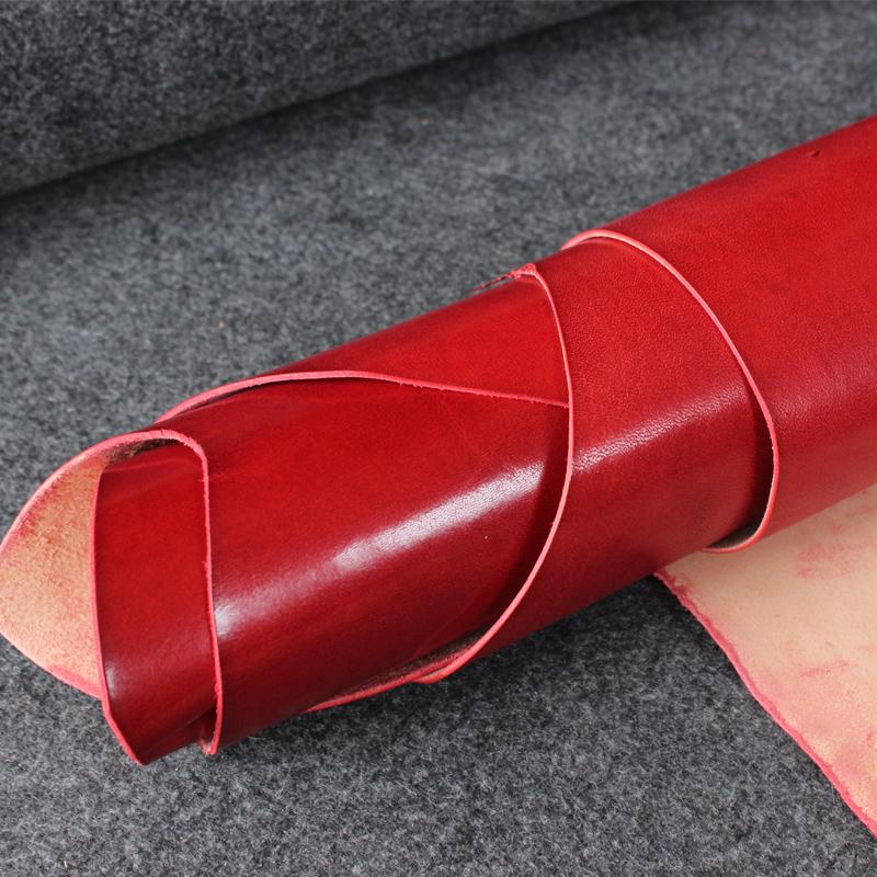 意大利YANKEE进口红色头层植鞣牛皮 树膏皮 DIY手工皮料