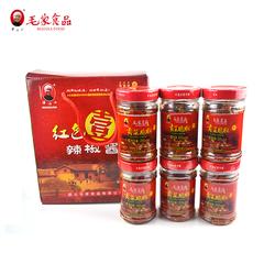 湖南特产汤妈妈毛家食品 红色一号 200g贡菜脆椒6瓶搭配装礼盒装