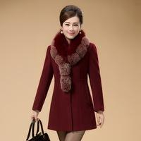 大码女装羊绒大衣女中长款 15秋冬新款中年女毛呢外套妈妈装上衣