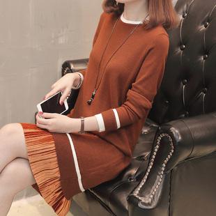 中长款假两件套头毛衣女秋冬加厚圆领打底衫针织连衣裙毛衣裙