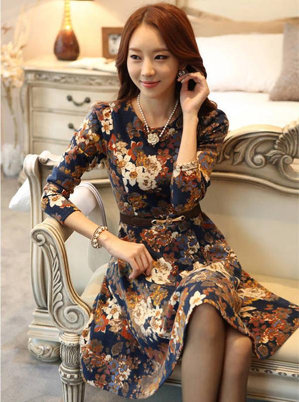 Женское платье Приобретение подлинных Корейский sz новых осенью и зимой в корейской версии с длинными рукавами долго Слим похудение платье Женская одежда