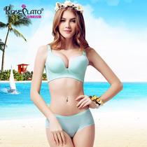 玫瑰柏拉图无痕无钢圈舒适纯色一片式小胸胸罩聚拢调整型文胸套装
