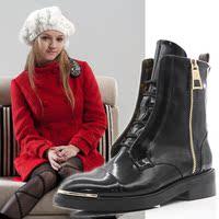 秋冬真皮短靴女2016新款潮鞋马丁靴时尚裸靴漆皮平底靴英伦风女靴