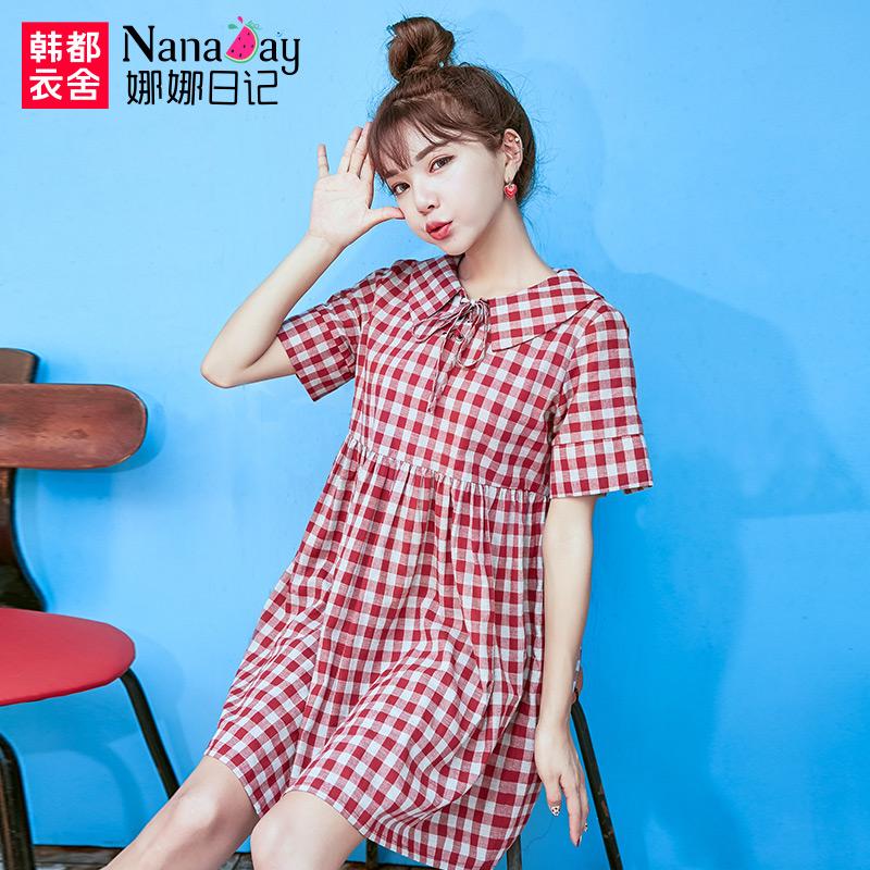 预售娜娜日记2017夏季新款女装红色格纹宽松短袖连衣裙女NK6775冉